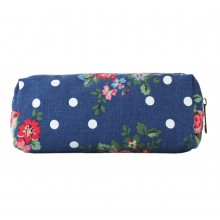 PC - Miss Lulu Canvas Pencil Case Flower Polka Dot Navy